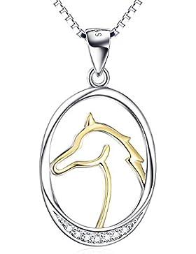 Silver Mountain 925 Sterling Silber Pferd Kopf Gold vergoldet Anhänger Halskette, Kette 45 cm
