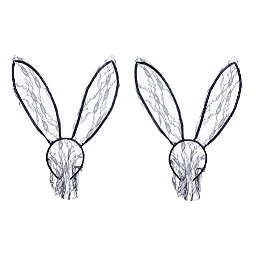 Frcolor Spitze Kaninchen Ohr Schleier Stirnband Halbmaske Sexy Stirnband Headwear für Mädchen und Frauen 2 Stück (schwarz)