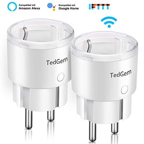 Presa WIFI, TedGem Smart Plug Prese WIFI Presa Intelligente WIFI Presa Smart con Amazon Alexa,Google Assistant e IFTTT, Controllo Remoto Funzione di Temporizzazione Presa Wireless