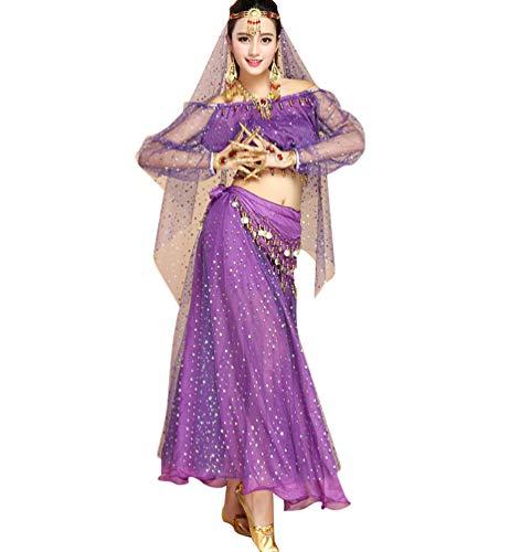 TianBin Tanzkostüm Bauchtanz-Kostüm Elegant Top und Pailletten Röcke mit Viel Zubehör für Damen (Violett#2, One ()