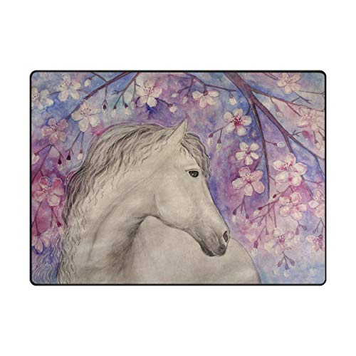 Mnsruu Pferd Tier Teppich Wohnzimmer Teppich, Teppiche für Wohnzimmer Küche Flur Schlafzimmer oder Kinderzimmer, 203 x 147 cm -