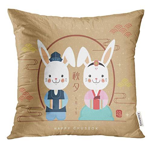 Niedliche Kostüm Zwillinge Für - Dekokissen Abdeckung Chuseok Hangawi koreanischen Erntedankfest niedlichen Cartoon-Kaninchen tragen Kostüm auf Polka Dot Caption 15. Dekorative Kissenbezug Home Decor Square 18 x 18 Zoll Kissenbezug