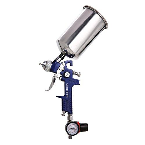 Coocheer Druckluft Farbspritzpistole mit Fließbecher Druckluftpistole HVLP Lackierpistole Spritzpistole Sprühpistole mit 1,4 mm Düse Arbeitsdruck 3 bar Inhalt Fließbecher 0,6 l
