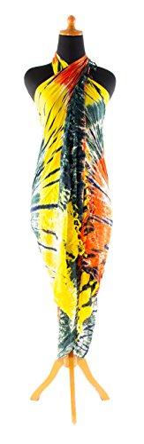 Sarong ca. 170cm x 110cm Handbemalt Tie Dye Batik inkl. Sarongschnalle im Runden Design - Viele exotische Farben und Tie Dye Muster zur Auswahl - Pareo Dhoti Lunghi Tie Dye Gelb Grün Rot