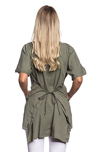 Abbino 6100 Vestiti Donne Ragazze - Made in Italy - 5 Colori - Transizione Primavera Estate Autunno Uni Signore Vestiti Donne Classico Libero Casual Eleganti Saldi Sexy - Taglia Unica Cachi
