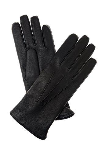 Hirschleder Gummizug (Herren Lederhandschuhe aus Hirschleder mit Aufnaht 660900 schwarz 9)