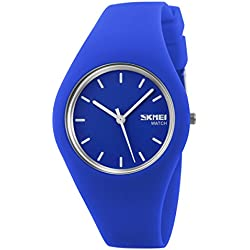 Sport Quartz Watch Silicone Strap Multicolor Men Women Girl's WristWatch,Unisex,Blue