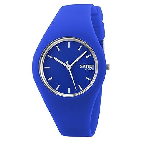 Sport Quarzuhr Mehrfarbige Silikon Uhrenarmbänder Armbanduhren Für Damen Armbanduhren Für Herren Armbanduhren Für Jungen, Unisex, (Sportuhr Herren Blau)