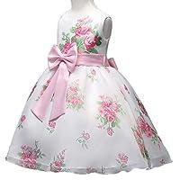 Niña Princesa Vestido,Sonnena Flores impresión Bowknot Vestido de Encaje de Boda sin Manga Formal