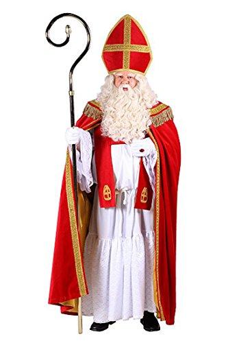 Sankt Nikolaus Kostüm - Hochwertiges Nikolauskostüm weißer Habit, samtiger Umhang,