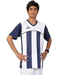Triumph Men's Polyester Football Navy Blue Stripe V Neck Uniform