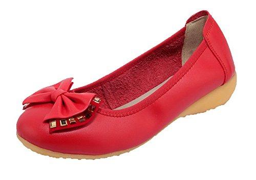 Colore Rossa Tacchi Miscelato Voguezone009 Donna Luce Tira Rotonda Materiale Scarpe Bassi Solido pOqPYw0q