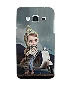 EagleHawk designer-SAM-J2-2016-e039 3D Cartoon Girl In Hilly Area On Scooter Back Cover For Samsung Galaxy J2 (2016) (Multicolor)