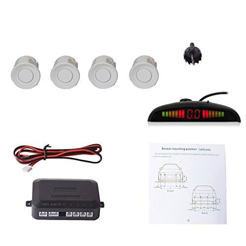 CoCar Auto Rückfahrwarner Einparkhilfe 4 Parksensoren Einparkassistent Einparksystem PDC + LED Anzeigen + Akustische Warnung - Weiß