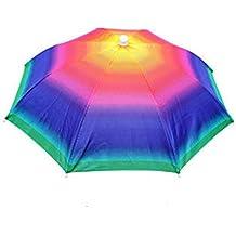 elegantstunning 55 cm design creativo testa cappello ombrello pieghevole  protezione solare campeggio trekking pesca Headwear Sun d9f84467237b