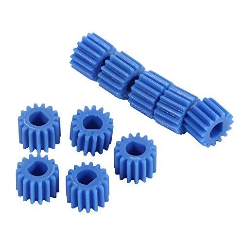 10 Stücke Kunststoff D-förmige Welle Spindel Getriebe 15 Zähne Blau Farbe für Flugzeug Auto Modell