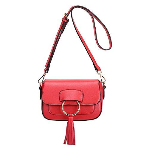 E-Girl Q0816 Damen Leder Handtaschen Satchel Tote Taschen Schultertaschen Rot