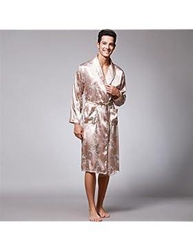 SUxian Gran Alpargatas Estampadas dragón de los Hombres Albornoz Manga Larga Solapa Bata de Dormir Pijamas