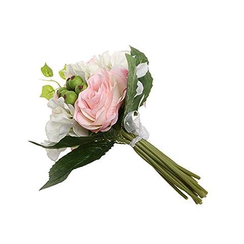 Bouquet de Fleur Rose en Soie Artificielle pour Mariée Fille d'Honneur Décor Maison Bureau - Rose