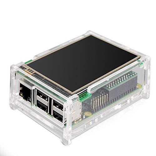 Yangyme Drucker Zubehör 3,5 Zoll Raspberry PI Touch Screen Display Monitor 480 x 320 LCD Touchscreen Kit mit transparenter Hülle + Kühlkörper für Raspberry Pi 2 und Raspberry PI B+ Home-screening-kit