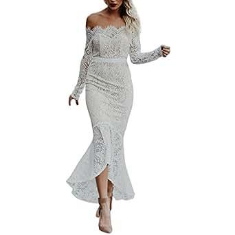 Manadlian Schulterkleid, Kleid Spitze Damen Elegant Weiß ...