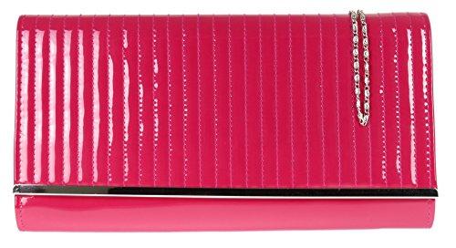 Girly HandBags Gesteppte Lack Clutch Tasche Maxi Elegantes Abend Farben Designer Schulter Kette -