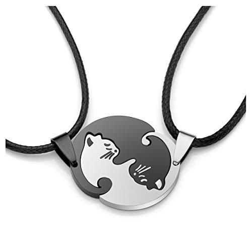 JSDDE Schmuck Edelstahl Pärchen Halskette mit Katze Anhänger Paar Kette Tai Chi Yin und Yang Puzzle Parnterketten Schwarz+Weiß(ohne Gravur)