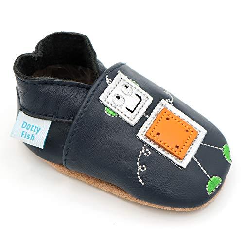 Dotty Fish weiche Leder Babyschuhe mit rutschfesten Wildledersohlen. 0-6 Monate (17 EU). Navy Schuh mit Roboter-Design. Silber und Orange. Jungen und Mädchen. Kleinkind Schuhe.