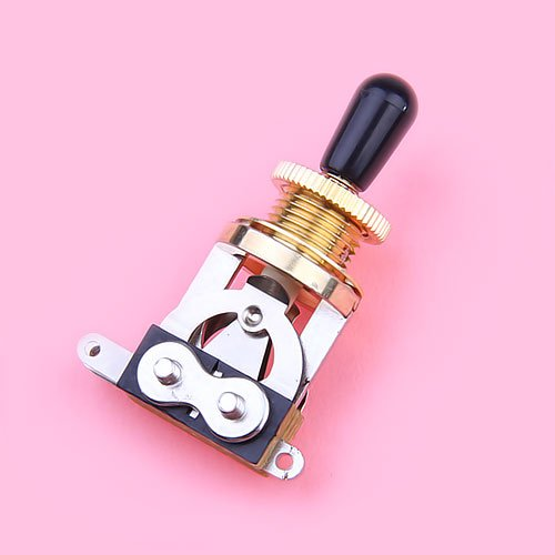 3-way Toggle Switch for Les Paul Electric Guitar Golden w/ Black Tip -