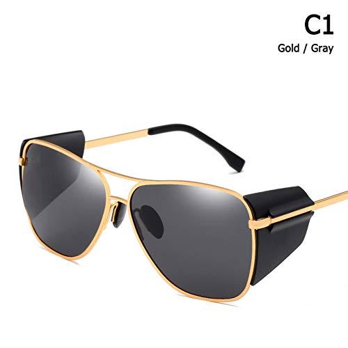 Taiyangcheng Herren Sonnenbrillen Leder Side Shield Sun Glasses,C1