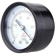 Lorsoul 0-30inHg 0-1bar Mini portátil de presión de Aceite Manómetro Agua Escala