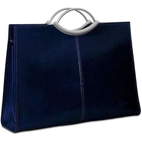 CASPAR TL623 klassische große elegante Damen Ledertasche Henkeltasche Businesstasche Dunkelblau