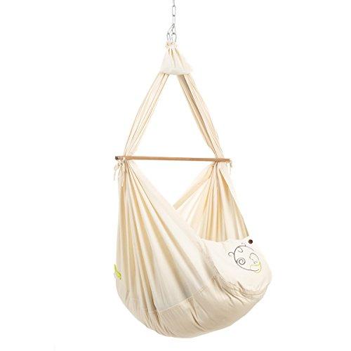NONOMO Federwiege Baby Set Classic I Baby Hängematte I 100% Bio Baumwolle für Neugeborene und Babies bis 15 Kilo I mit Kunstfaser-Matratze und Deckenbefestigung