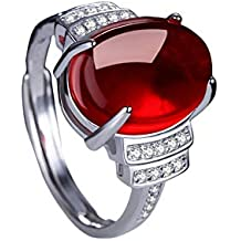 Scrox 1x Anillo Mujeres Ajustable de Plata Clásico Joyería Mujer Moda Anillos Ágata de Apertura Diamante