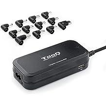 TooQ TQLC-90BS02AT - Cargador Universal automático de 90W para Ordenador portátil, Salida 2xUSB para Cargar Dispositivos, Incluye 12 Conectores Intercambiables DC, Multitensión, Negro