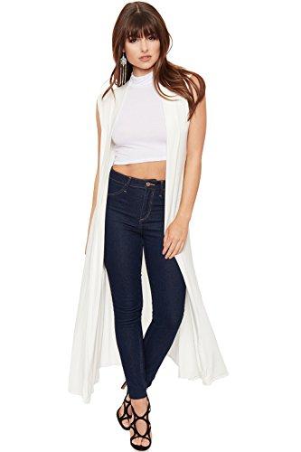 WearAll - Damen Lang Maxi Geöffnet Ärmellos Top Jacke Kragen Ebene Strickjacke - Creme - 36-38 (Top Drapiertes, Ärmelloses)