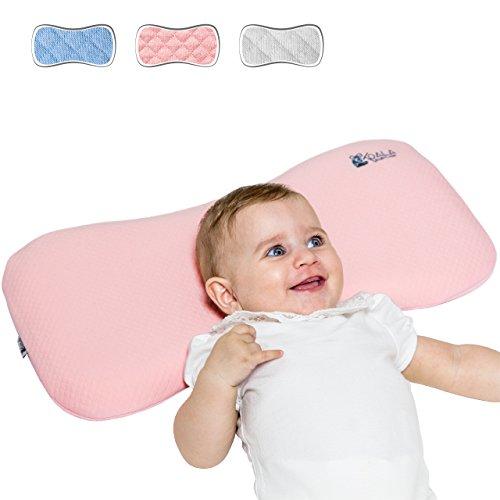 Cuscino ortopedico neonato 0-36 mesi plagiocefalia sfoderabile per lettino (con due federe) per la prevenzione e cura della testa piatta in memory foam antisoffoco - koala babycare® - rosa - maxi
