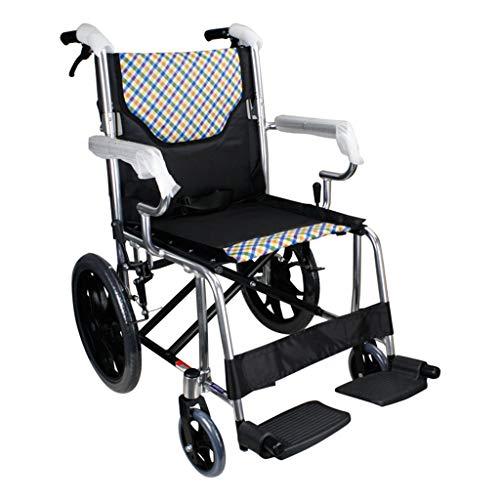 inium-Rollstuhl, Leichter faltender selbstfahrender Rollstuhl mit Handbremsen Aluminiumlegierung Anwendbar Alter Mann Behinderte Scooter Transit-Rollstuhl ()