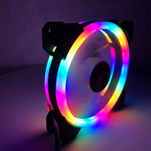 XuBa - Ventilador LED de 12 cm, luz Blanca, Doble círculo, Color arcoíris