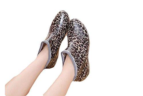 Ein Bißchen schöne elegant kurz rutschfest Atmungsaktive Damen Gummistiefel Leopard-A