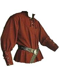 99c7fadeae GladiolusA Camisa De Manga Larga Cuello En V Pirate Renaissance Gótico  Medieval para Hombres ...