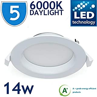 5X Daylight LED Bright Toilet Kitchen 14W Downlight Ceiling RECESSED Light Fitting LAMP 860 1000LM 6000K Cool White IP44 Bathroom Spotlight