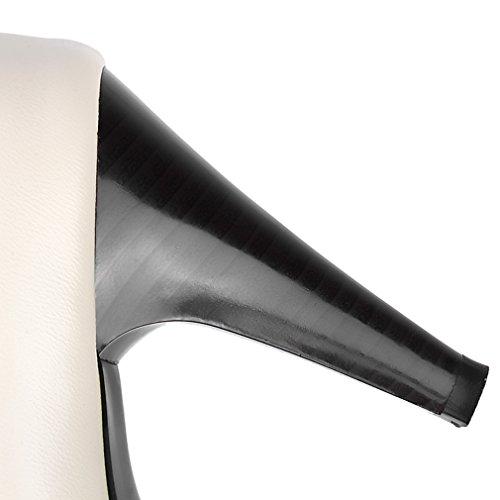 UH Femmes Escarpins Rétro Classy Vernis avec Noeud à Deux Boucles Blanches et Noir à Talons Hauts avec Plateforme Bout Fermé Simple et en Mode Blanc