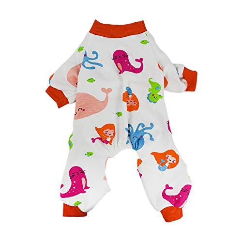 Rodite Hund Schlafanzug weich flexibel atmungsaktiv Baumwolle Pet Jumpsuits Niedlich Haustierkleidung Cozy Bodys für kleine Hunde und Katzen-Meerjungfrau