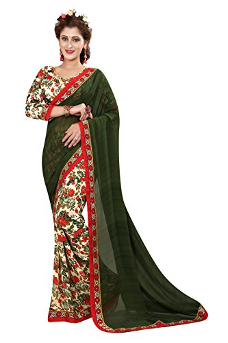 Oomph! Women's Georgette Sarees Party Wear/Fancy Sarees/Printed Georgette Sarees with Border