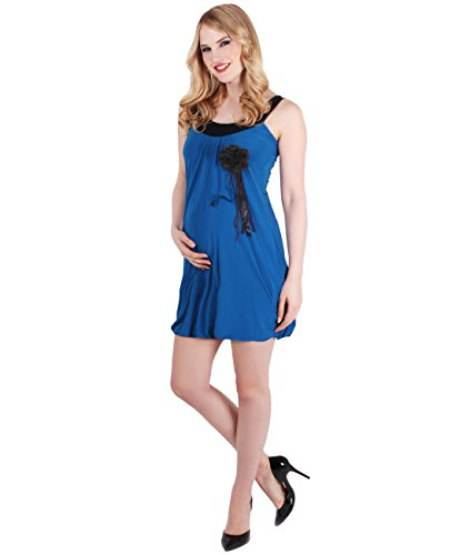 KRISP® Femmes Robe Trapèze Tunique Uni Elégante Broche en Fleurs Collection Maternité Bleu roi
