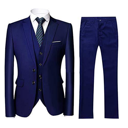 Herren 3 Teilig Anzug Slim fit mit Einreiher Jacke Anzughose und Weste Men 3 Piece Suit für Business