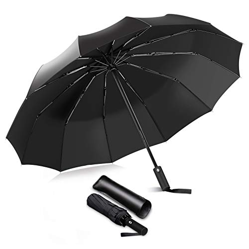 IToncs Regenschirm Taschenschirm Sturmfest bis 150 km/h mit 12 Edelstahl Rippen Auf-Zu Automatik,Kompakt & Stabil Teflon-Beschichtung Regenschirm Schirm für Reisen & Business
