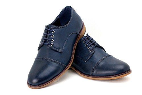Pour Hommes Oxford Décontracté Chaussures Élégantes HabilléÀ Lacets Derby Office Mariage Marine