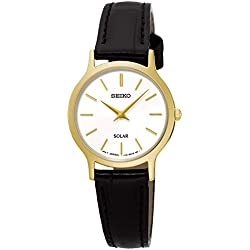 Ladies Womens Gold Tone Seiko Solar Watch on Black Leather Strap. SUP300P1